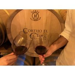 Brindis con vino tinto barrica Jáncor Cortijo El Cura Eco-Bodega Laujar Alpujarra