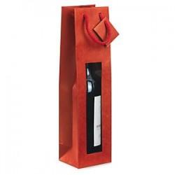 Bolsa para 1 botella de papel kraft rojo fucsia